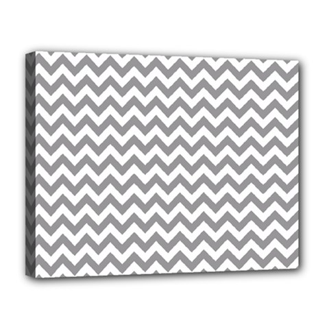Grey And White Zigzag Canvas 14  x 11  (Framed)