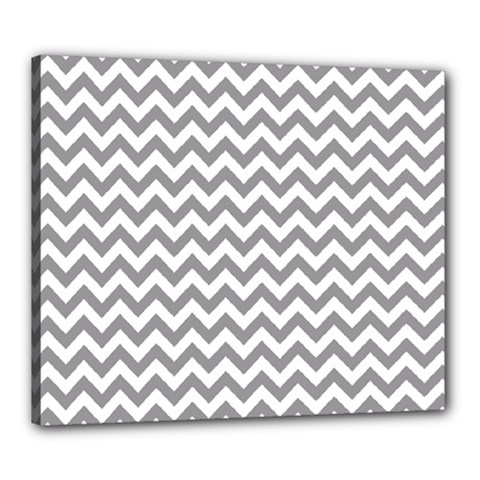 Grey And White Zigzag Canvas 24  X 20  (framed)