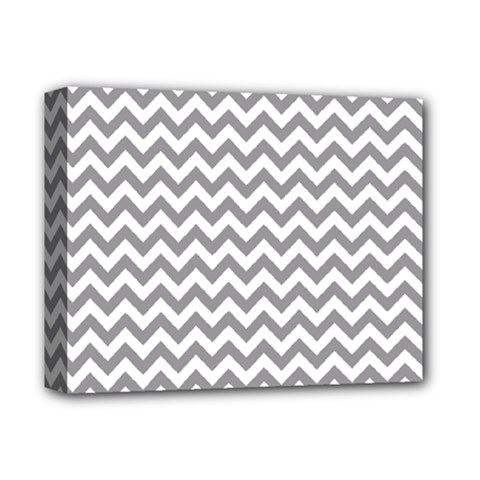 Grey And White Zigzag Deluxe Canvas 14  X 11  (framed)