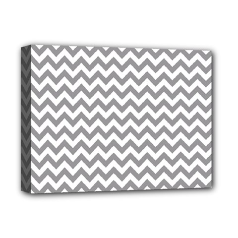 Grey And White Zigzag Deluxe Canvas 16  X 12  (framed)