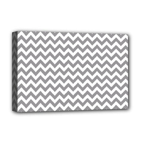 Grey And White Zigzag Deluxe Canvas 18  x 12  (Framed)