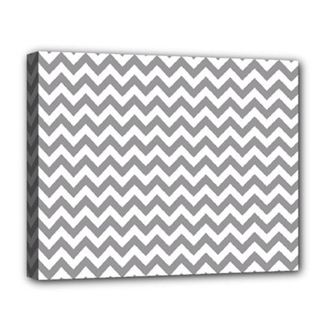 Grey And White Zigzag Deluxe Canvas 20  x 16  (Framed)