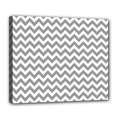 Grey And White Zigzag Deluxe Canvas 24  x 20  (Framed)