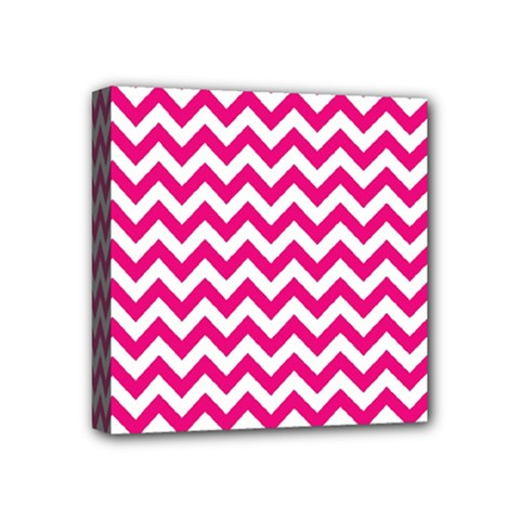 Hot Pink And White Zigzag Mini Canvas 4  x 4  (Framed)