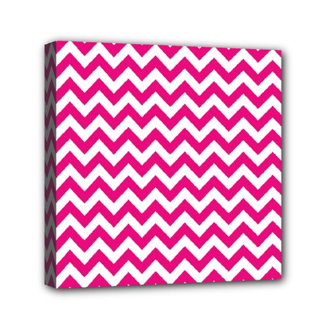 Hot Pink And White Zigzag Mini Canvas 6  X 6  (framed)
