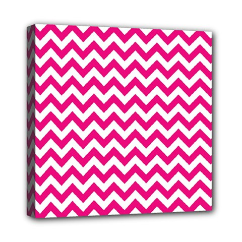 Hot Pink And White Zigzag Mini Canvas 8  X 8  (framed)