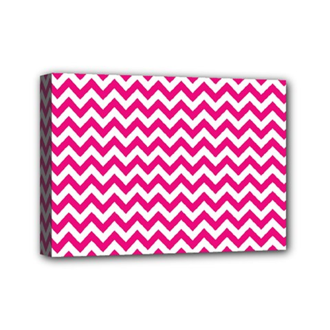 Hot Pink And White Zigzag Mini Canvas 7  x 5  (Framed)