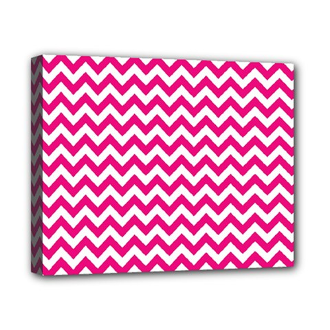 Hot Pink And White Zigzag Canvas 10  x 8  (Framed)