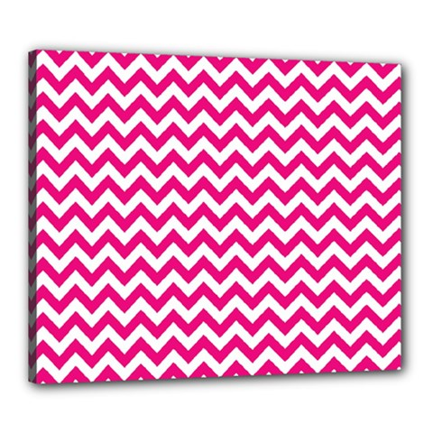 Hot Pink And White Zigzag Canvas 24  x 20  (Framed)