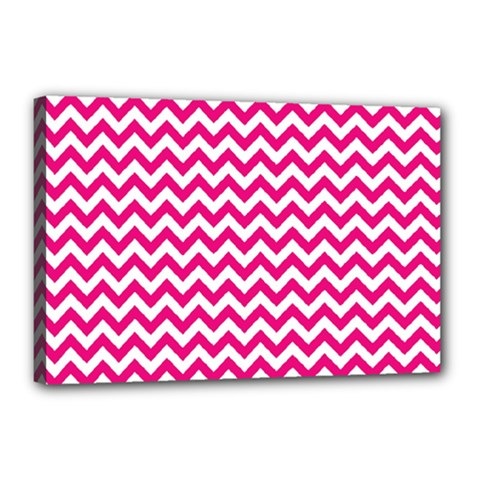 Hot Pink And White Zigzag Canvas 18  x 12  (Framed)