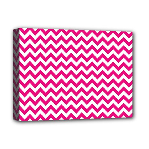 Hot Pink And White Zigzag Deluxe Canvas 16  X 12  (framed)