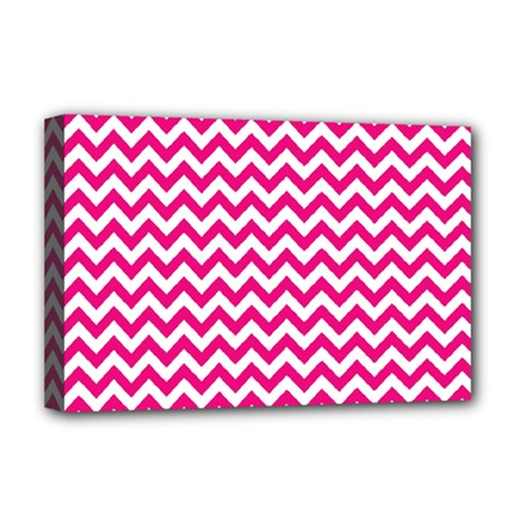 Hot Pink And White Zigzag Deluxe Canvas 18  x 12  (Framed)
