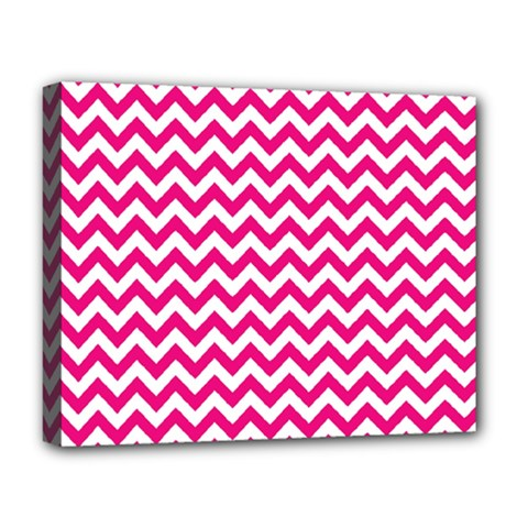Hot Pink And White Zigzag Deluxe Canvas 20  x 16  (Framed)