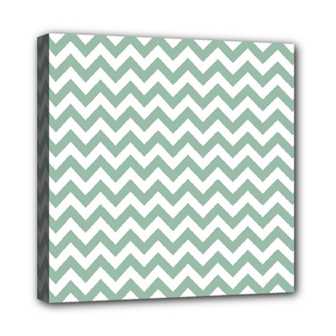 Jade Green And White Zigzag Mini Canvas 8  x 8  (Framed)