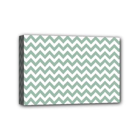 Jade Green And White Zigzag Mini Canvas 6  x 4  (Framed)