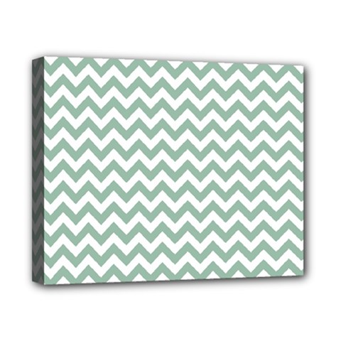 Jade Green And White Zigzag Canvas 10  X 8  (framed)