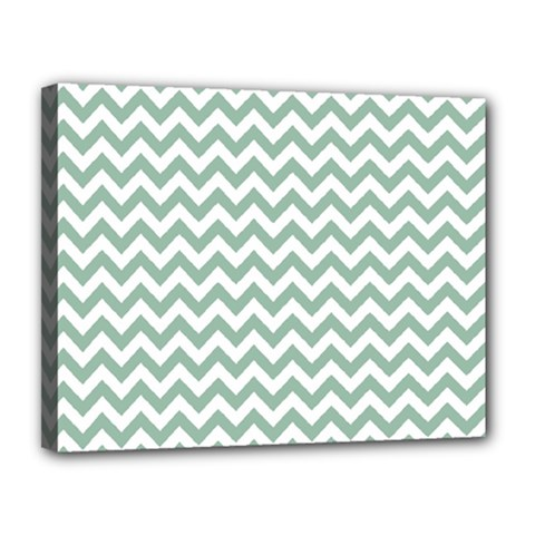 Jade Green And White Zigzag Canvas 14  X 11  (framed)