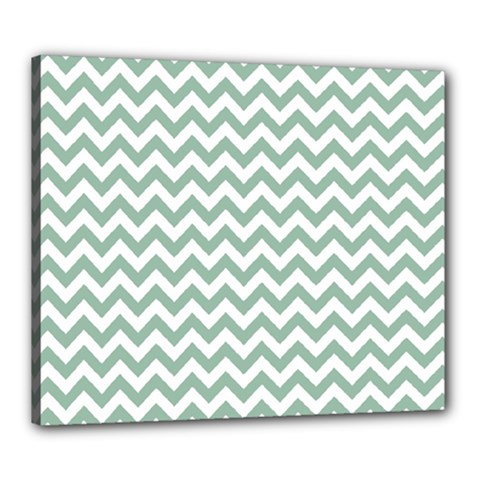 Jade Green And White Zigzag Canvas 24  x 20  (Framed)