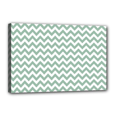 Jade Green And White Zigzag Canvas 18  x 12  (Framed)