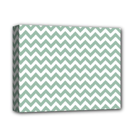 Jade Green And White Zigzag Deluxe Canvas 14  x 11  (Framed)