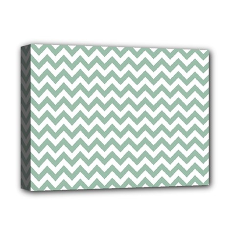 Jade Green And White Zigzag Deluxe Canvas 16  x 12  (Framed)
