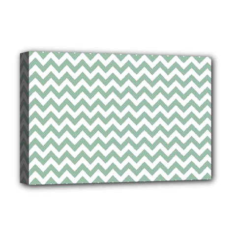 Jade Green And White Zigzag Deluxe Canvas 18  x 12  (Framed)