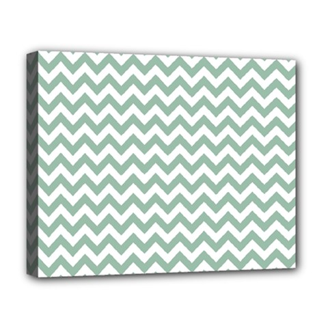 Jade Green And White Zigzag Deluxe Canvas 20  x 16  (Framed)
