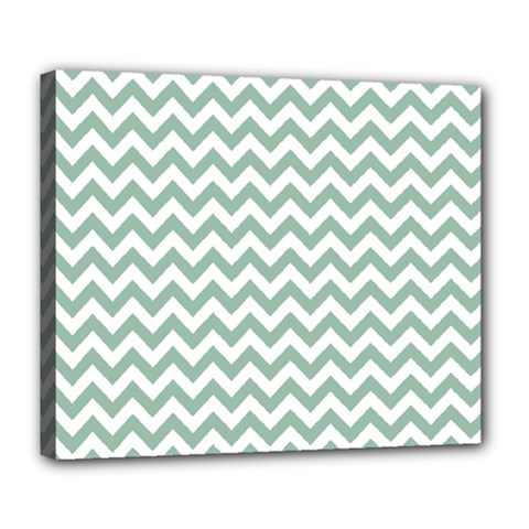 Jade Green And White Zigzag Deluxe Canvas 24  X 20  (framed)