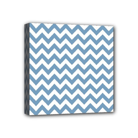 Blue And White Zigzag Mini Canvas 4  X 4  (framed)
