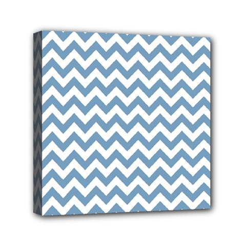 Blue And White Zigzag Mini Canvas 6  x 6  (Framed)