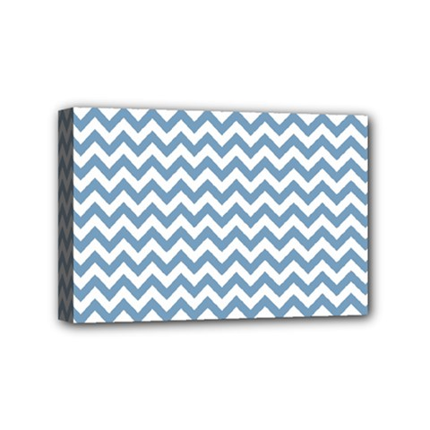 Blue And White Zigzag Mini Canvas 6  x 4  (Framed)