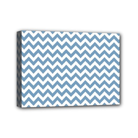 Blue And White Zigzag Mini Canvas 7  X 5  (framed)