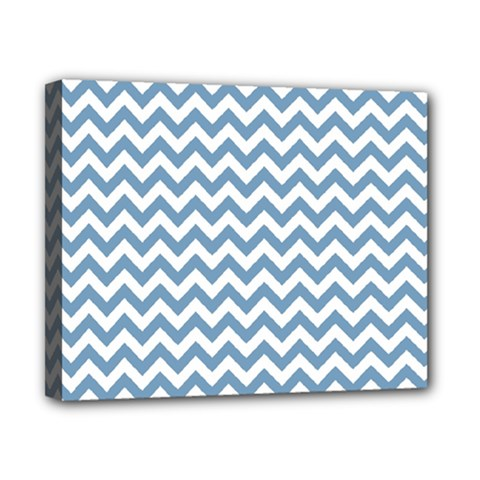 Blue And White Zigzag Canvas 10  x 8  (Framed)