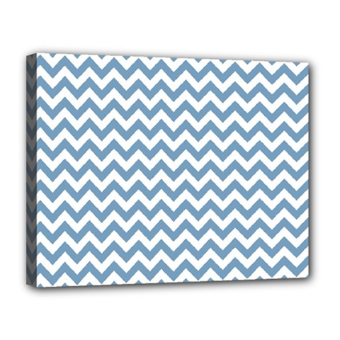 Blue And White Zigzag Canvas 14  x 11  (Framed)