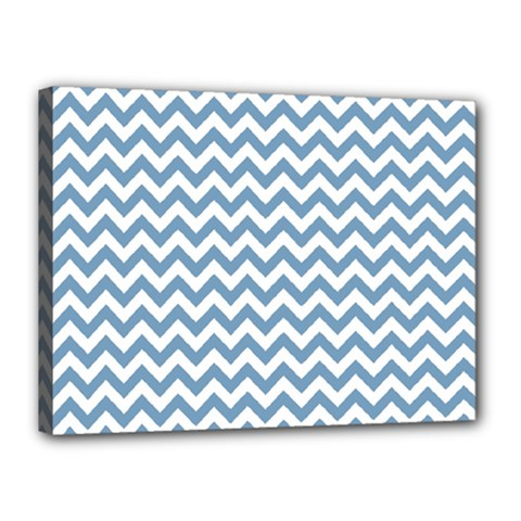 Blue And White Zigzag Canvas 16  x 12  (Framed)