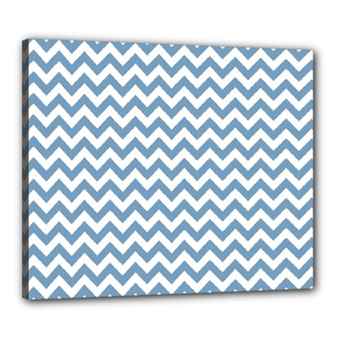 Blue And White Zigzag Canvas 24  x 20  (Framed)