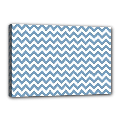 Blue And White Zigzag Canvas 18  x 12  (Framed)