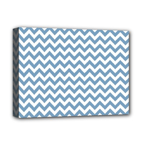 Blue And White Zigzag Deluxe Canvas 16  x 12  (Framed)