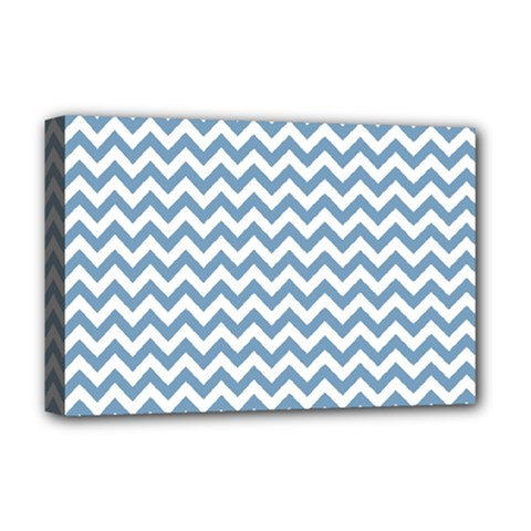 Blue And White Zigzag Deluxe Canvas 18  X 12  (framed)