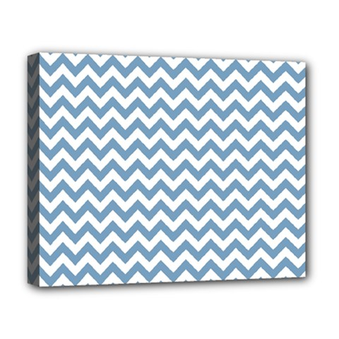 Blue And White Zigzag Deluxe Canvas 20  X 16  (framed)