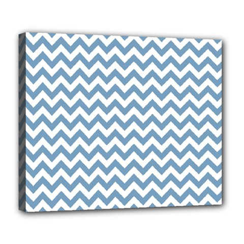 Blue And White Zigzag Deluxe Canvas 24  X 20  (framed)