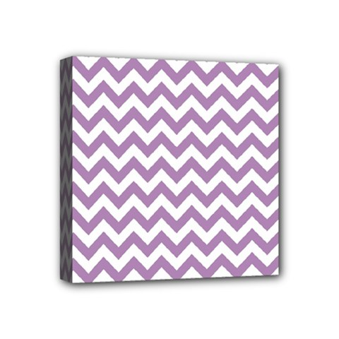 Lilac And White Zigzag Mini Canvas 4  x 4  (Framed)