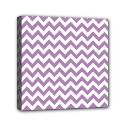 Lilac And White Zigzag Mini Canvas 6  X 6  (framed)