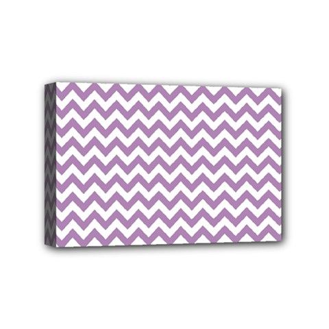 Lilac And White Zigzag Mini Canvas 6  x 4  (Framed)