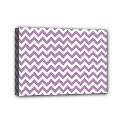 Lilac And White Zigzag Mini Canvas 7  X 5  (framed)