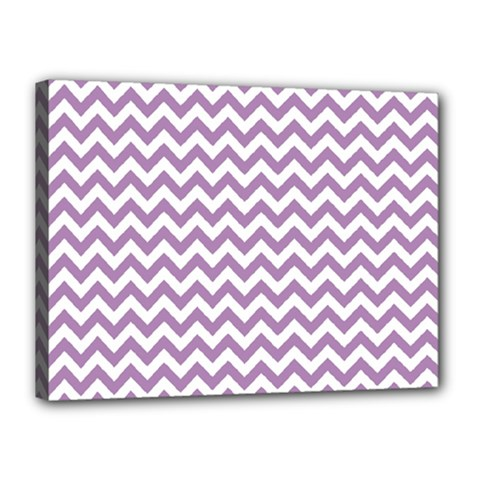 Lilac And White Zigzag Canvas 16  x 12  (Framed)