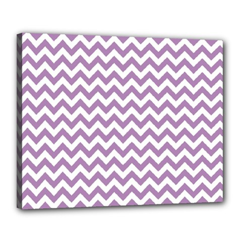 Lilac And White Zigzag Canvas 20  X 16  (framed)