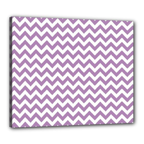 Lilac And White Zigzag Canvas 24  x 20  (Framed)