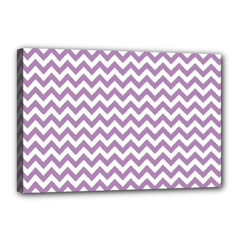 Lilac And White Zigzag Canvas 18  x 12  (Framed)