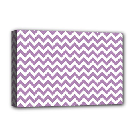 Lilac And White Zigzag Deluxe Canvas 18  x 12  (Framed)